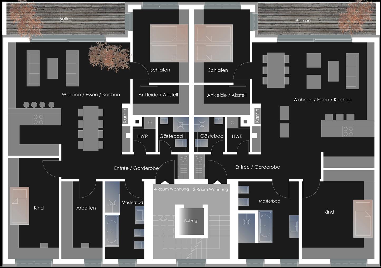 Mehrfamilienwohnhaus Endersstrasse - Regelgeschoss
