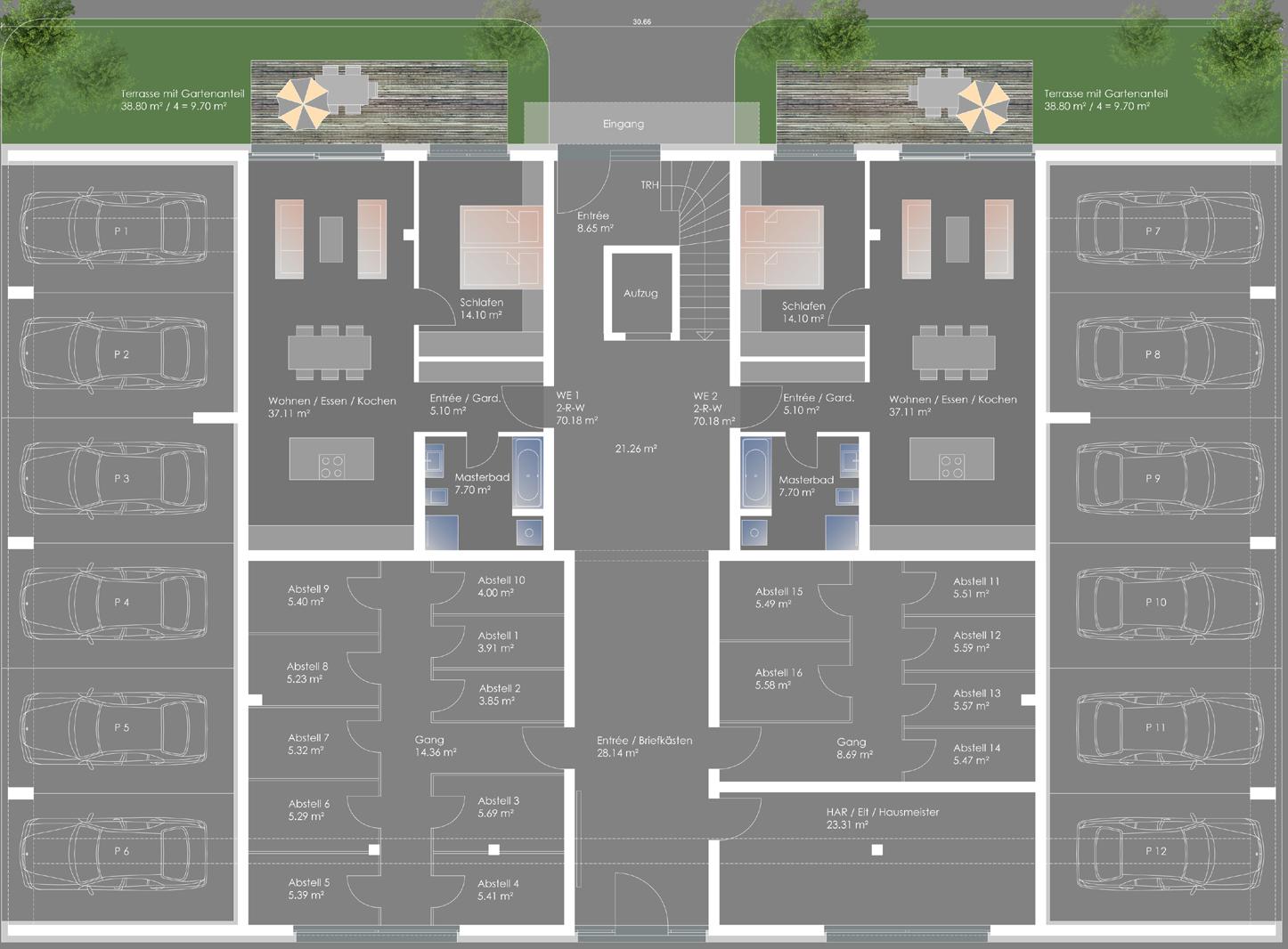Neubau Mehrfamilienwohnhaus Kurt-Kresse-Strasse - Erdgeschoss