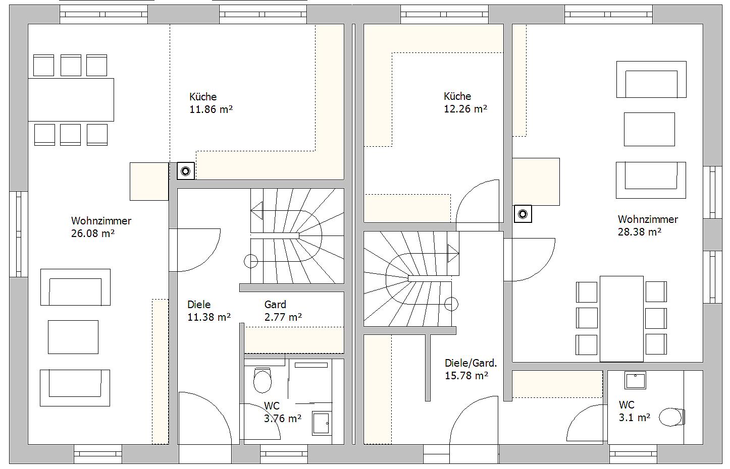 Massives Doppelhaus, Jena 2016 - Erdgeschoss