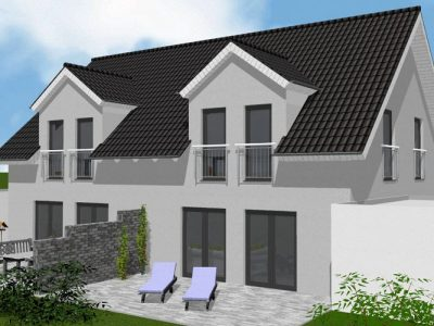 Doppelhaus Tsavorit 104 - Ansicht aus dem Garten